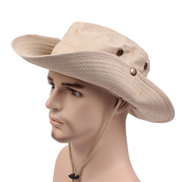 1305964575c68 Men Women Cotton Cowboy Caps Wide Brim Sun Hat Outdoor Bucket Boonie Hat  Cowboy Safari Cap for Fishing Golf Hiking Hunting Camping
