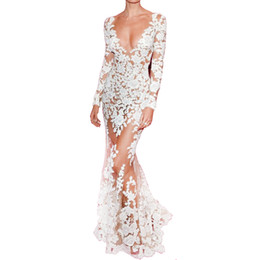 Long Sleeve Full Length Dresses UK - Autumn Runway Dresses Women High Quality Mermaid Long Sleeve Plunge Celebrity White Lace Dress Full-Length See Through Dress