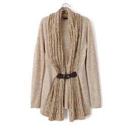 $enCountryForm.capitalKeyWord Canada - New Fashion Ladies' elegant stylish PU leather sashes Knitted knitwear long sleeve sweater Cardigan Casual Slim new arrival Tops