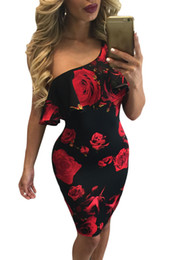Robes Moyennes Pour La Fête Pas Cher-Red Rose Print Frill One Shoulder Medium Dress 2017 modeste Print Summer Sexy Vintage Women Party vêtements Vestido Curto