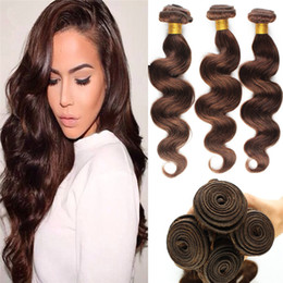 chestnut brown weave Canada - Brazilian Virgin Hair Body Wave 3 Bundles Light Chestnut Brown Human Hair Weaves Color 4 Brown Hair Weave Extensions Dhl Free