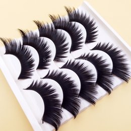 Wholesale performing arts resale online - Black Winged Exaggerated False Eyelashes Soft Long Section Thick Cross Messy Lashes Performing Arts Stage Makeup Fake Eyelashes