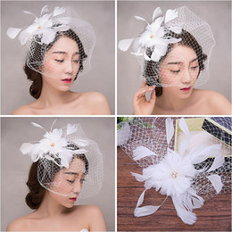 linen hats women Australia - Woman headdress hair Lomen bride feather hat hat linen gauze European retro wedding accessories accessories 6210664