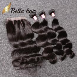 Bella Hair® 8A Feixes de Cabelo Brasileiro com Fecho 8-30 DoubleWeft Cabelo Humano Extensões de Cabelo Tece Encerramento Onda Do Corpo Ondulado Julienchina em Promoção
