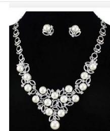 Wedding Crystal Bride Necklace Set Canada - white color crystal pearl wedding bride set necklace earings (88) dgd