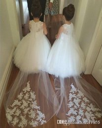 Wholesale Hot Sale Custom white First communion Ball Gown Tulle Appliques Flower Girl Dresses Wedding dress size dimension