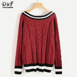 burgundy pullover Australia - Dotfashion Varsity Striped Trim Cable Knit Jumper V Neck Loose Long Sleeve Womens Sweaters 2017 Burgundy Striped Sweater