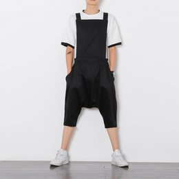 1c85cd394314d Mens jumpsuit romper summer onesie work overalls black Punk bib capris pants  fashion Korean style loose casual cropped trousers