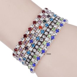 $enCountryForm.capitalKeyWord UK - Silver Plated 7 colors Single Line Crystal Fiiled stretch bracelet Shining zircon elastic Roll Bracelet for women girl