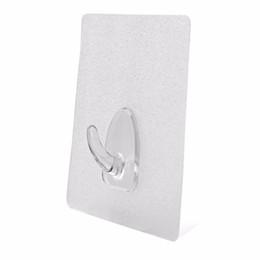 Plastic Strong Adhesive Hook UK - Wholesale- 6pcs Bearing 3KG Transparent Seamless Adhesive Hook Waterproof Oilproof Strong Sticking Wall Hook Hanger Kitchen Bathroom