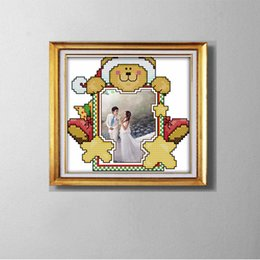 Canvas frame kit online shopping - COUPLE photo frame lovely cartoon painting counted printed on canvas DMC CT CT Cross Stitch Needlework Set Embroidery kit
