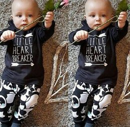 Panda Shirt Girl Pas Cher-En gros ins Garçons Filles Bébé Vêtements Ensembles Arrow Lettres T-shirts Panda Sarouel Ensemble Toddler T-shirts Manches Longues Boutique Vêtements Costume