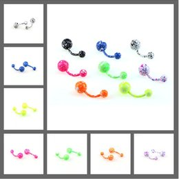$enCountryForm.capitalKeyWord Canada - Painted navel ring stainless steel navel buckle floral umbilical nail human body piercing body jewelry CA180