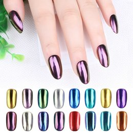 Polvo De Brillo Para Las Uñas Baratos-16 colores Shinning Cromo Magic Mirror Powder Metal Nail Art Tips Decoración Pigmento Glitter Dust Herramientas DIY Manicure + Esponja Cepillo 2g