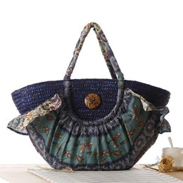 Cloth hobo bags online shopping - Factory brand new leisure summer Bohemia Suihua cloth bag shoulder straw bag retro folk style calico decorative Straw Beach Bag