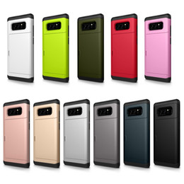 Card Inserts NZ - Card Slip Insert Slide Pocket Hybrid Case for Samsung Galaxy Note 8 S8 Plus S7 Edge Combo TPU PC Shockproof Back Cover