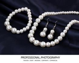 $enCountryForm.capitalKeyWord NZ - Wedding Jewelry Sets silver Plated Clear Crystal Costume Imitation Pearl Women Wedding Party Gift Free Shipping