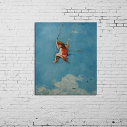 $enCountryForm.capitalKeyWord UK - Kids Playing the Swing In Sky,Handpainted & HD Print Modern Art oil painting,Home Wall Decor On High Quality Canvas Multi Size