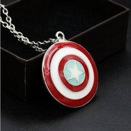 superhero necklaces NZ - HOT Captain America shield necklaces high quality jewelry The superhero captain America statement necklaces chain pendant necklace