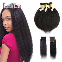 Coarse hair bundles online shopping - Malaysian Kinky Straight Hair Bundle With Closure Virgin Hair Unprocessed Human Hair Italian Coarse Yaki With X4 Free Closure