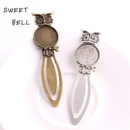 wholesale blank bookmarks Canada - Sweet Bell Min order 8pcs Two color Alloy Cameo owl Steel Bookmarks 20mm-28*83mm Round Cabochon Settings Jewelry Blank Charm A4274