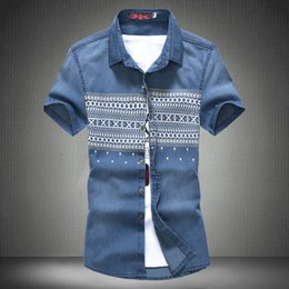 $enCountryForm.capitalKeyWord Canada - Wholesale- 2016 New Men Jeans Shirts Summer&Autumn Water Washing Male Tops Short Sleeve Flower Print Denim shirt For Men Brand Clothing