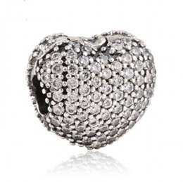 925 locking charms UK - Heart Clip Charms Beads 925 Sterling Silver Pave Clear Crystal Stopper Lock Bead For Jewelry Making DIY Brand Logo Bracelets Accessories