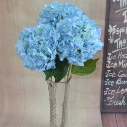 "Fake Flower Stems Canada - European Fake Single Stem Hydrangea Large Flower Head 90cm 35.43"" Length Artificial Hydrangeas for Homw Showcase Xmas Decorative Flower"