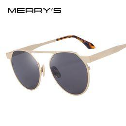 $enCountryForm.capitalKeyWord Canada - Wholesale- MERRY'S Men Women Classic Brand Designer Single Bridge Sunglasses Vintage Sunglasses Coating Mirror Flat Panel Lens S'8031