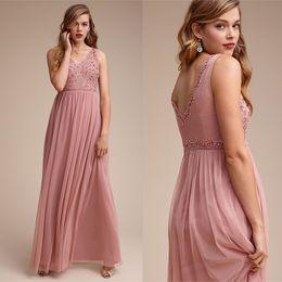 $enCountryForm.capitalKeyWord NZ - Newest Blush Pink Bridesmaids Dresses 2019 V Neck Sleeveless A Line Crystal Beaded Formal Bridesmaid Dress Long For Wedding