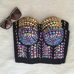 5d4514f3d4 Wholesale-Unique Gold Purple Rhinestone Gaga Bustier Pearls Diamond Push Up  Night Club Bralette Women s Bra Cropped Top Vest Plus Size