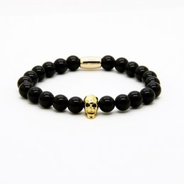 ring beads 2019 - Fashion Jewelry Wholesale Micro Pave Black Cz Faceted Mix Colour Skull With 8mm A Grade Black Onyx Stone Beads Tube Men&