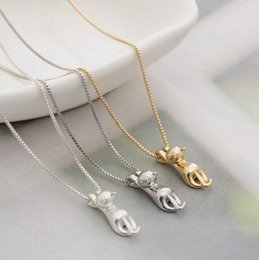$enCountryForm.capitalKeyWord NZ - Fashion silver gold plated cute cat charm pendant necklace dog eared necklces for women lady jewelry XL