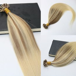 Blonde hair Brown highlights online shopping - 100Strands g set Pre bonded Remy Human Hair Extension Keratin Nail U tip Hair Extension Balayage Ombre Hair Brown Blonde Highlight