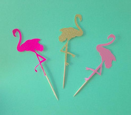 Cheap Cupcakes Wholesale NZ - cheap Custom 30pcs Flamingo glittery Bridal Shower Cupcake Toppers Food Picks toothpick wedding Valentines Day birthday party decorations