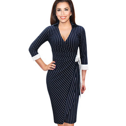 Affaires Féminines Sexy Décontractées Pas Cher-New Fashion Womens Sexy Elegant col en col en forme d'enveloppe à rayures à rayures Party Office Work Business Casual Crayon Dress