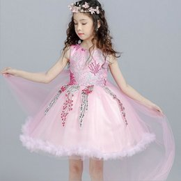 Robe De Tutu Pas Cher-Flower Girls Dress Flower Brodées Robes de mariée Robes Tulle Children Costume de performance de scène Tulle Kids Party Dress C1397