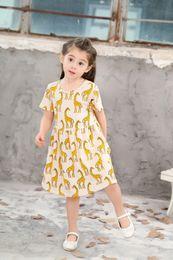 Cartoon Skirt Canada - Girls Princess Cotton Short Dress Baby Kids Short Cartoon Giraffe Printed Pleated Dress Children Babies Ruffles Shirts Clothes Dress Skirts
