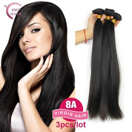 Discount unprocessed virgin kinky straight hair - Wholesale-8A Indian Virgin Hair Straight 3Pcs 100% Human hair Unprocessed Raw Indian Remy Hair Indian Straight Virgin Hu