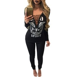 Barato Camisas De Rock Sexy-Atacado Sexy 3D Print T Shirt Mulheres 2017 Fashion Punk Rock Tops Oco Out Deep V Neck Top Camisas Lace Up T-shirt