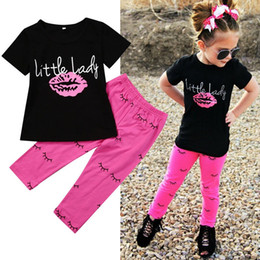 boutique clothes Canada - Toddler Girl Clothing Set Newborn BABY ClothesTeen Kid Boutique Tracksuit Short Sleeve Shirt Trouser Legging Pink Pants Sport Suit Playsuit