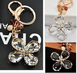 gold lucky clover 2019 - Lucky Four Leaf Clover key chain Crystal leaf with gold silver ring keychain Creative bag key ring fashion accessories c
