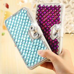 Diamond Flip Covers NZ - S5 Bling Crystal Diamond Case Fashion Glitter Rhinestone Card Slot Leather Flip Phone Cover For Samsung Galaxy S5 I9600 Retail