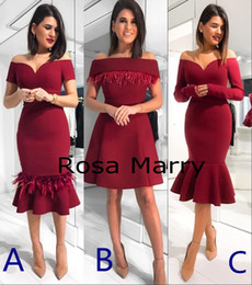 mermaid ruffles tea length dresses Canada - Sexy Off Shoulder Feather Mermaid Cocktail Party Dresses 2020 Club Tea Length Burgundy Plus Size Arabic Dubai Formal Evening Party Gowns