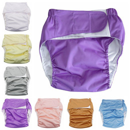 Wholesale Adults Wash Diapers Magic Stick Cloth Diaper Old Men Leakproof Diapers Pants Shorts Reusable Diaper Covers 10 Colors OOA2637