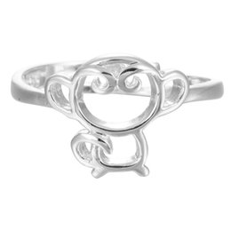 Kids Rings For Fingers UK - 5pcs lot Real 925 Sterling Silver Lovely Monkey Finger Ring for Women Kids Adjustable Party Ring Fashion Sterling-silver-jewelry