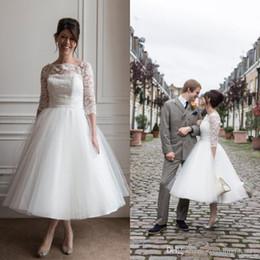 $enCountryForm.capitalKeyWord NZ - V2017 Stunning Tea Length Wedding Dress Custom Under Knee Length Short Wedding Dresses Lace Tulle Country Bridal Gowns Sheer Neck Sleeves