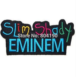"embroidered logo patch Canada - 4.5"" Eminem The Real Slim Shady Hip Hop Music Rock Band LOGO Embroidered IRON ON Patch Applique Cap Hat Heavy Metal"