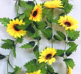 $enCountryForm.capitalKeyWord Canada - 240cm Fake Silk Sunflower Ivy Vine Artificial Flowers With Green Leaves Hanging Garland Garden Fences Home Wedding Decoration HJIA1070