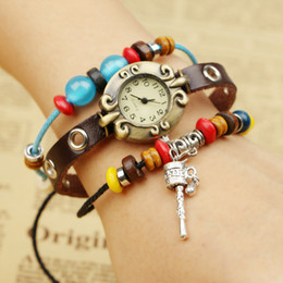 Design Genuine Leather NZ - Europe and the United States trend, retro fashion, alloy . genuine leather. bracelet table, original design, limited edition *W01344W01340